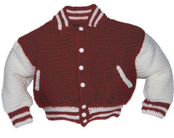 Baseball Jacket Crochet Pattern, Baby Boy Crochet Pattern, Baby Crochet Patterns, Crochet Jacket Patterns