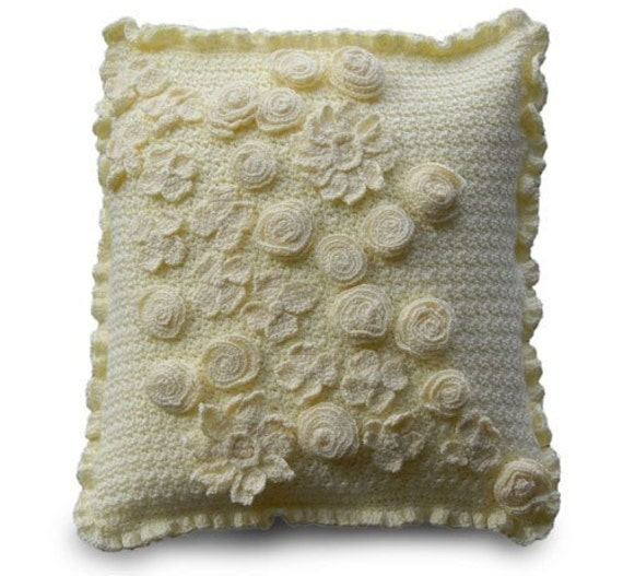 Crochet Pillow Pattern with Dogwood, Roses, and more