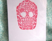 Dia de los Muertos  - Calavera Pink Skull Screen Print Black Friday Etsy Special