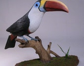 10 inches Red-billed Toucan Wood Carving Bird