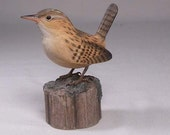 Marsh Wren Hand Carved Wooden Bird