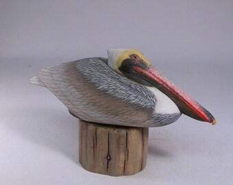 Pelican Hand Carved Wooden Bird