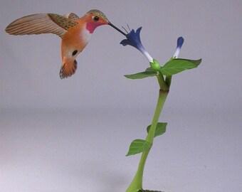 Open-winged Rufous Hummingbird Hand Carved Wooden Bird