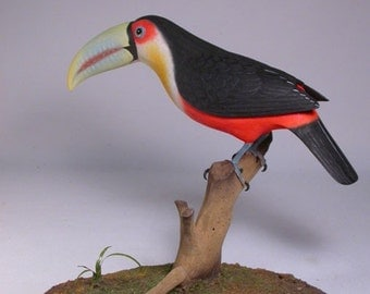 10 inches Red-breastedToucan Wood Carving Bird