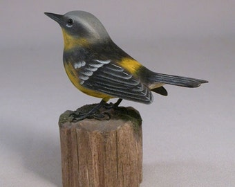 Magnolia Warbler Wood Carving Carved Wooden Bird