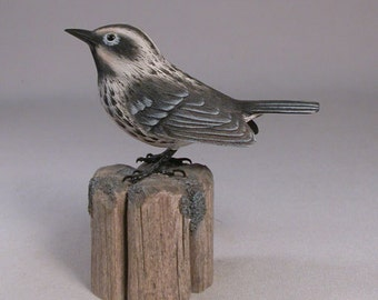 Black and White Warbler Wood Carving Carved Wooden Bird