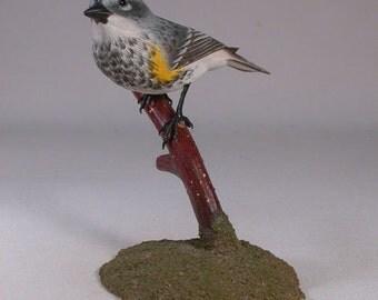 Yellow-rumped  Warbler Wooden Hand carved Bird