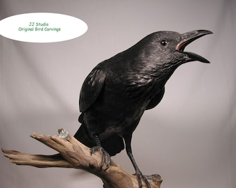 22 inch Common Raven Hand Carved Wooden Bird
