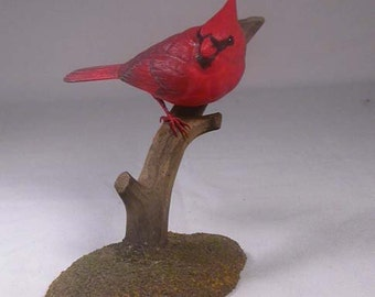 4-1/2 inch Male Cardinal Hand Carved Wooden Branch Bird Carving