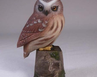 3-3/4 inches Saw-whet Owl Hand Carved Wooden Bird Carving
