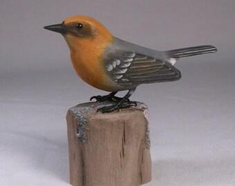 Olive Warbler Wood Carving Carved Wooden Bird