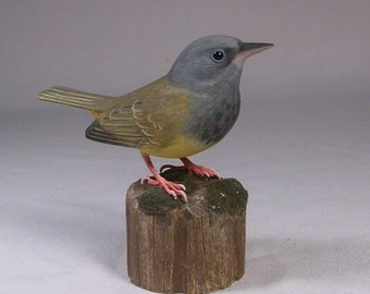 Mourning Warbler Hand Carved Wood Bird