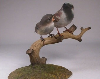 House Sparrow & a Baby Hand Carved Wooden Songbird