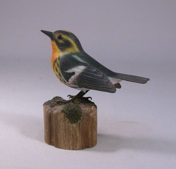 Blackburnian Warbler Hand Carved and Hand Painted Wood Bird