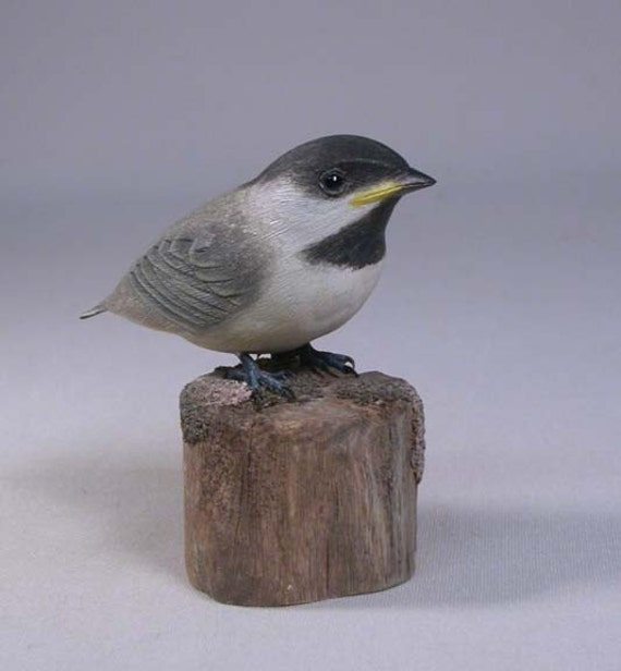 Baby Black-capped Chickadee Hand Carved Wooden Bird