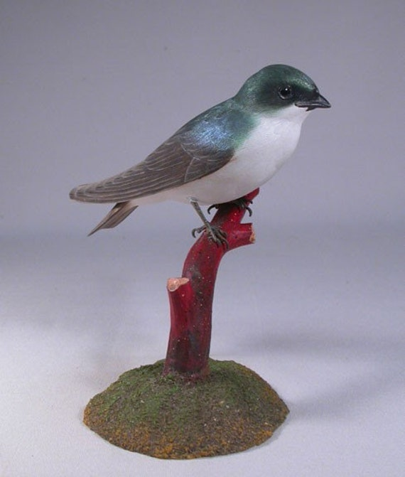 Tree Swallow Hand Carved and Hand Painted Wooden bird Carving