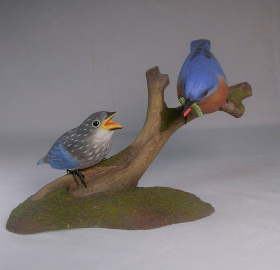 Eastern Bluebird (Male) with a Baby Wooden Carved Bird