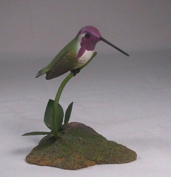 Costa's Hummingbird Hand Carved Wooden Bird