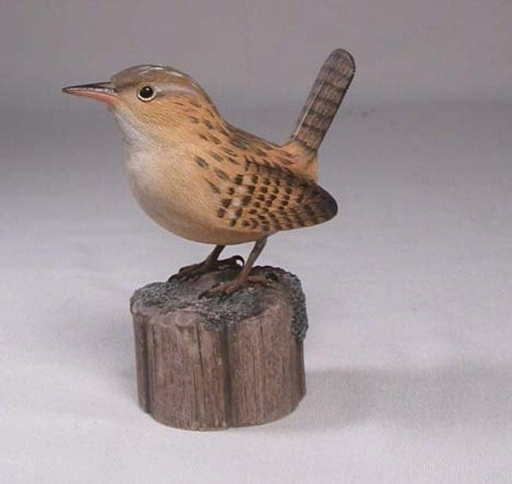 Marsh Wren Hand Carved Wooden Bird