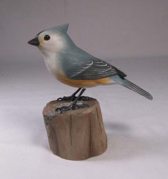 Tufted Titmouse Hand Carved and Hand Painted Wooden bird