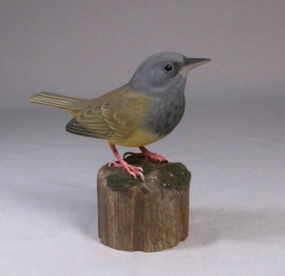 Mourning Warbler Hand Carved Wood Bird