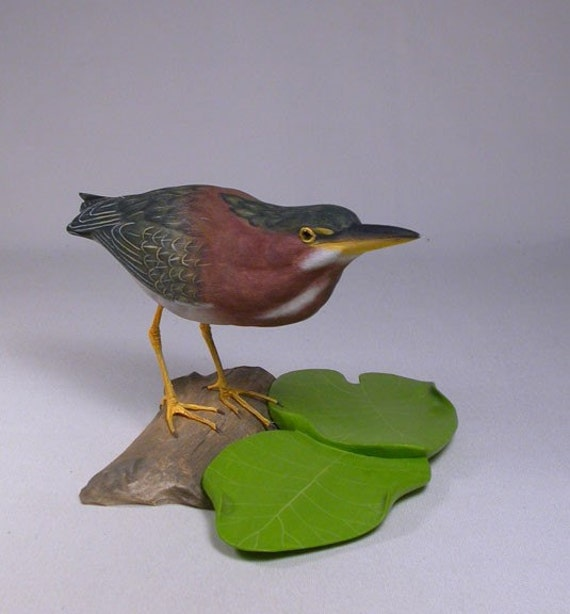 7 inch Green Heron Hand Carved Wooden Bird