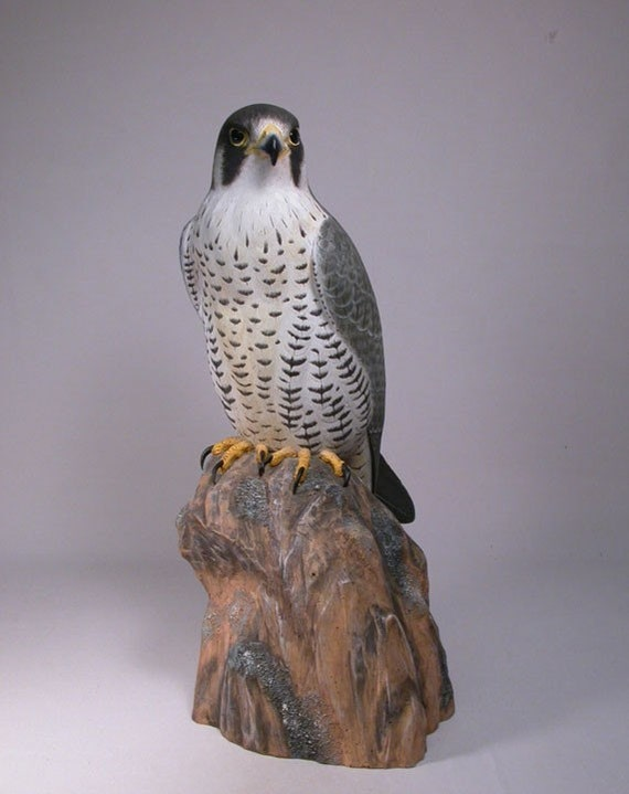 15 inch Peregrine Falcon Hand Carved Wooden Bird Carving