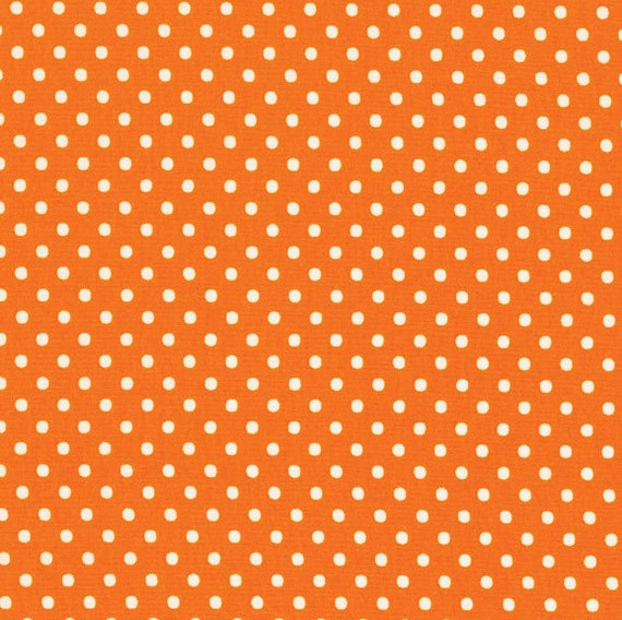 RJR Crazy For Dots ORANGE With White Polka Dots Fabric 1 Yard