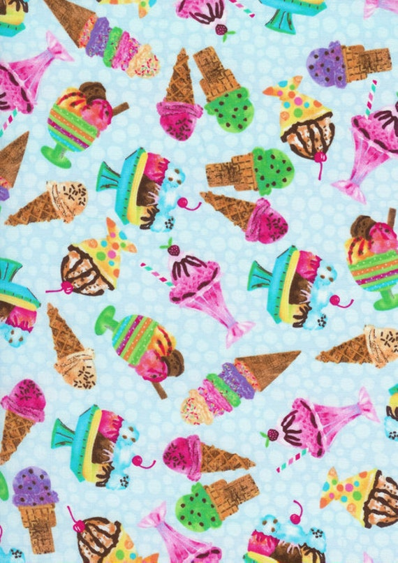 Timeless Treasures Fun Food With Ice Cream Cones And Sundea's All RainbowColors Fabric........ 1 Yard