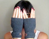 INSTANT DOWNLOAD Crochet PATTERN Fingerless Mod Mittens pdf wrist warmers with button strap for her