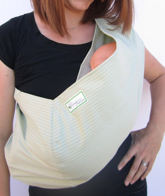 Cooper Baby Sling- Thin blue and white stripes on saige---Stretch Sateen---stylish and modern