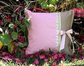 Pillow - The Victorian Pink and Green Nr. 1- Mothers Day Gift