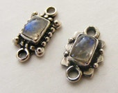 Sterling silver rainbow moonstone 2 connectors