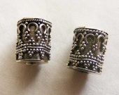 Sterling silver Hill Tribe cylinder octagon beads with fine detail