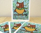 Owl in Scarf Wintery Cards - Set of 4