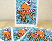 Winter Octopus Holiday Cards - Set of 4