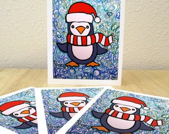 Winter Penguin Holiday Cards - Set of 4