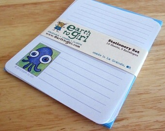 Purple Squid Stationery Set