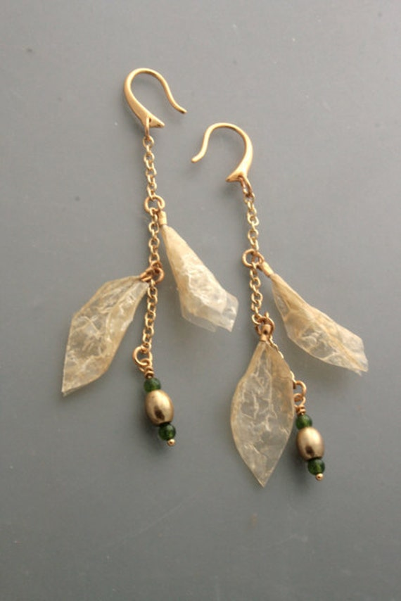 Spring growth - cured seal gut earrings