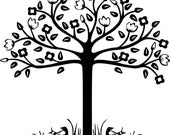 FOLK ART TREE WITH BIRDS vinyl decal -- RESERVED for Cassie