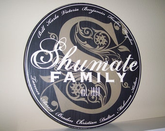 LARGE 24 IN Round Folk Style  --  Family Member Names Sign  -- also in medium and small