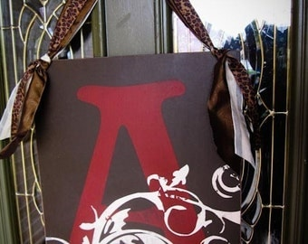Flourish INITIAL Door Sign 16x20 in -- CHOOSE YOUR COLORS -- PERSONALIZED WITH YOUR INITIAL