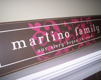 10x40 Personalized Family Established Name sign  --  Our Story Began - Mary Jane Style