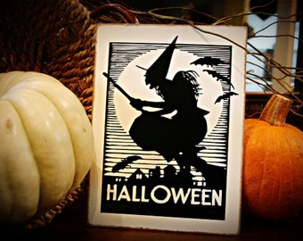 Witch on her Broomstick Halloween  Table Easel or door hanger sign