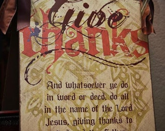 Give Thanks door hanger sign, Thanksgiving Sign