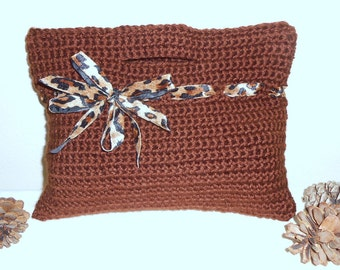 Crochet Tote - bag handbag tote crochet bag brown clutch evening bag - Safari Desert Sweet Little Handbag