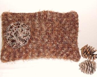 Crochet Brown Tote - handbag purse tote crochet bag clutch bag brown evening bag - Faux Fur Sweet Little Handbag