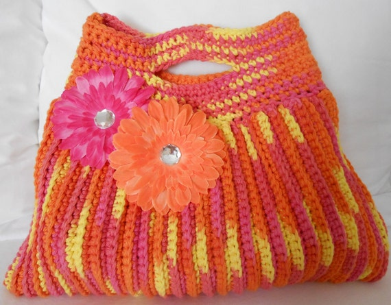 RESERVED for TERESA - crochet tote handbag summer pink orange yellow flowers purse bag - Summer Fun Terrifically Textured Tote