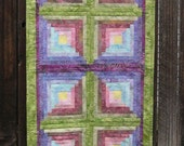 Many Colors Batik Log Cabin Table Runner