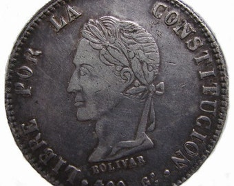 1862 BOLIVIA SILVER COIN Scarce Antique Over 145 Years Old Bolivia Republic 8 Soles High Grade silver Coin